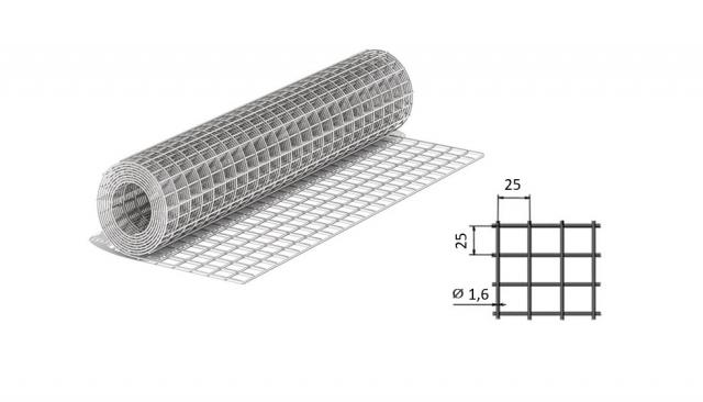 Сетка сварная из оцинкованной проволоки 25*25*1,6 мм