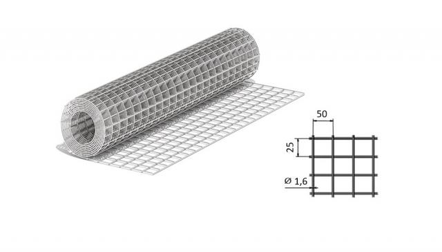 Сетка сварная из оцинкованной проволоки 50*25*1,6 мм