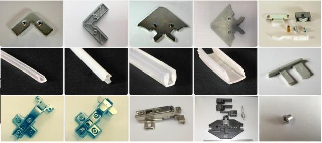 Комплектующие алюминиевого профиля для мебельных фасадов и зеркал в рамке