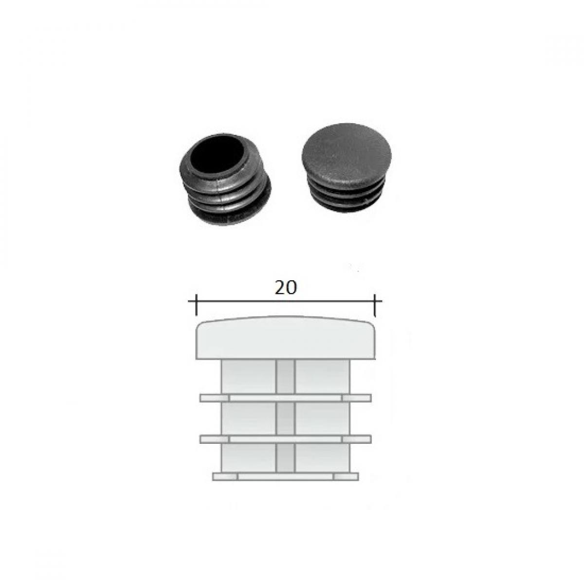 Заглушка ПВХ на круглую трубу внутренняя D=20 мм