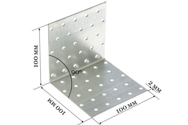 Уголок крепежный равносторонний KUR 100*100*100*2 мм