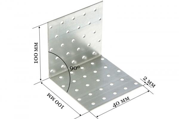 Уголок крепежный равносторонний KUR 100*100*40*2 мм