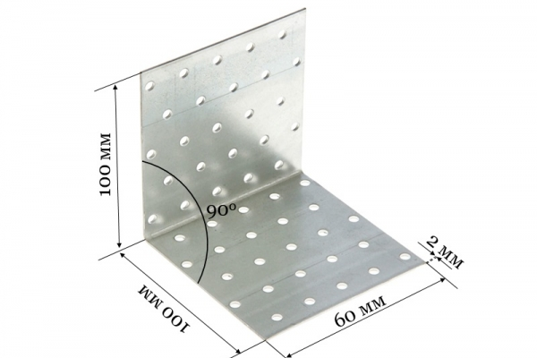 Уголок крепежный равносторонний KUR 100*100*60*2 мм
