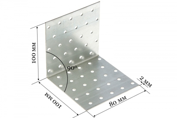 Уголок крепежный равносторонний KUR 100*100*80*2 мм