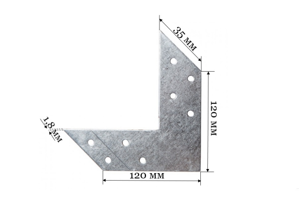 Соединитель угловой US 120*120*35*1,8 мм