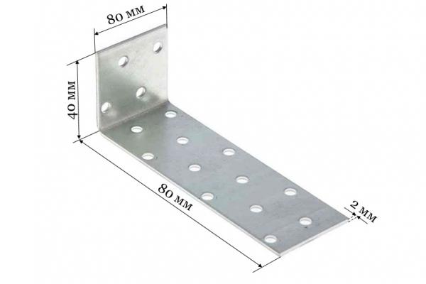 Уголок крепежный анкерный KUL 40*80*80*2 мм