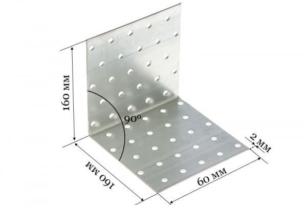 Уголок крепежный равносторонний KUR 160*160*60*2 мм