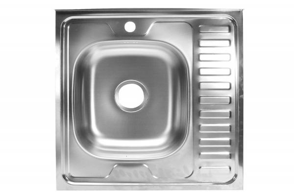 Мойка кухонная накладная 600*600*130*0,4 мм левая без сифона