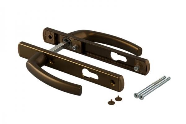 Ручка-накладка на пластиковую дверь двухсторонняя под цилиндр 85 мм коричневая