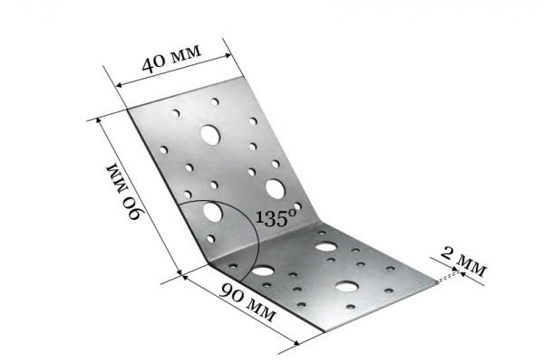 Уголок крепежный под 135 градусов KUS 90*90*40 мм