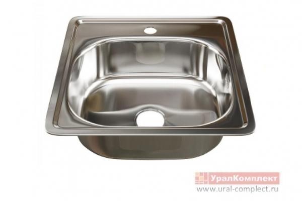 Мойка кухонная врезная с сифоном 1/15 480*480*160/0,6 мм нержавеющая сталь