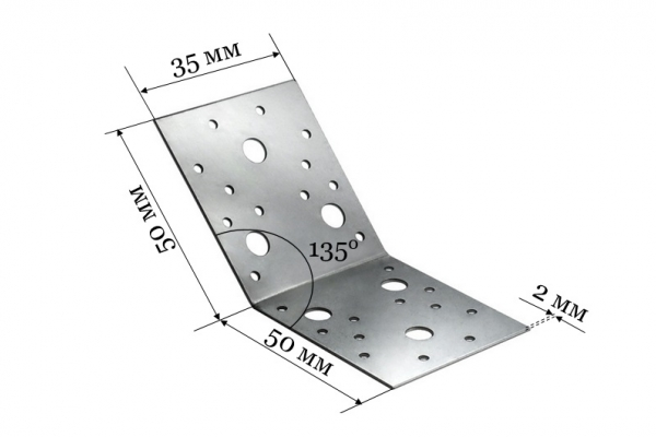Уголок крепежный под 135 градусов KUS 50*50*35 мм