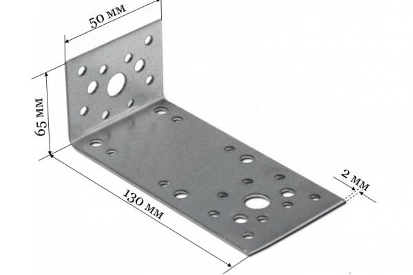 Уголок крепежный ассиметричный KUAS 130*50*65*2 мм
