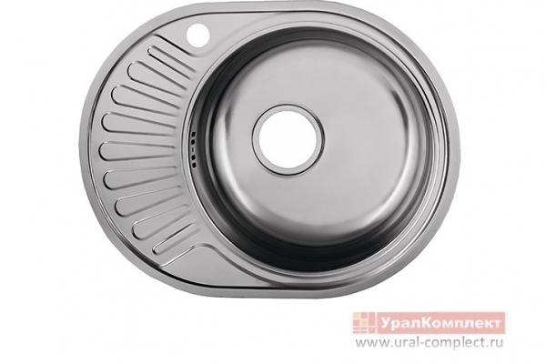 Мойка кухонная врезная правая с сифоном 570*450*170/0,6 мм нержавеющая сталь