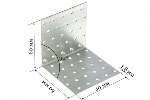 Уголок крепежный равносторонний KUR 60*60*40*1,8 мм