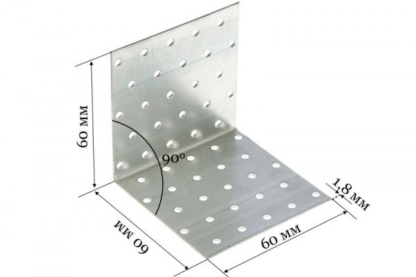 Уголок крепежный равносторонний KUR 60*60*60*1,8 мм