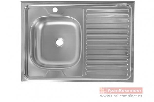 Мойка кухонная накладная левая без сифона 600*800*130/0,4 мм нержавеющая сталь