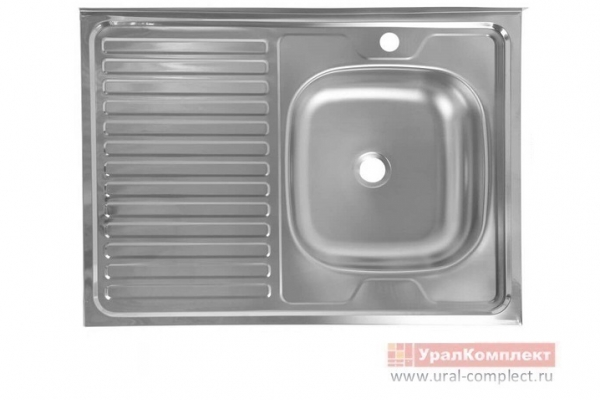 Мойка кухонная накладная правая без сифона нержавеющая сталь 600*800*130/0,4 мм