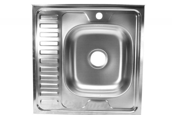 Мойка кухонная накладная 600*600*130*0,4 мм правая без сифона