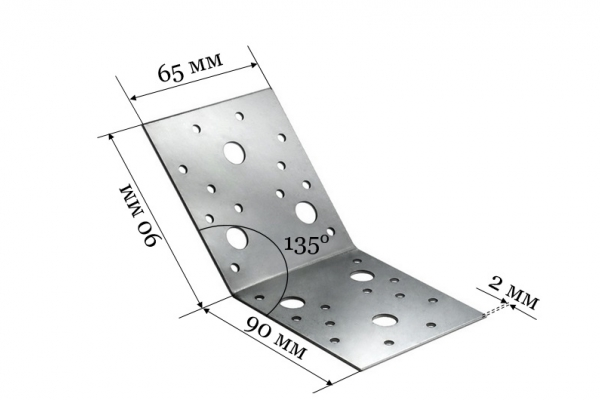 Уголок крепежный под 135 градусов KUS 90*90*65 мм
