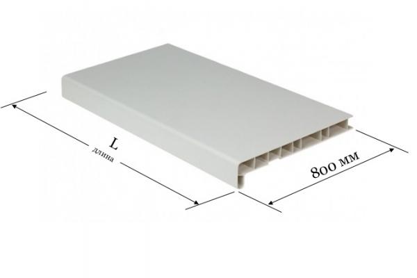 Подоконник ПВХ 800 мм Витраж белый