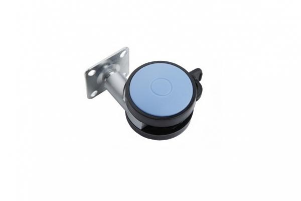 Опора колесная мебельная D-60 мм c тормозом (N107BL/BLU.5)