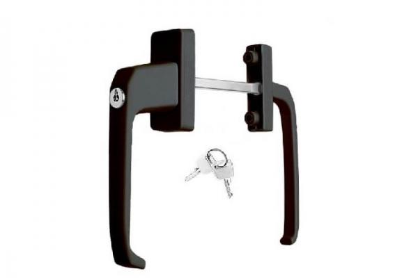 Ручка балконная двухсторонняя с ключом коричневая