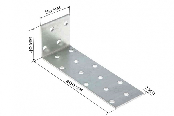 Уголок крепежный анкерный KUL 40*200*80 мм