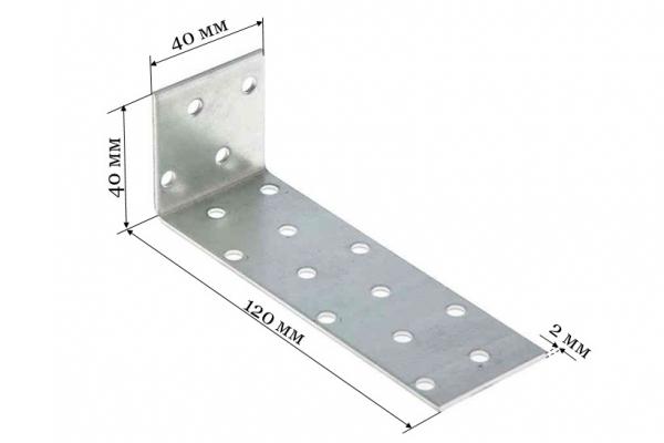 Уголок крепежный анкерный KUL 40*120*40*2 мм