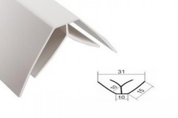 Угол внутренний для панели ПВХ 3 м белый